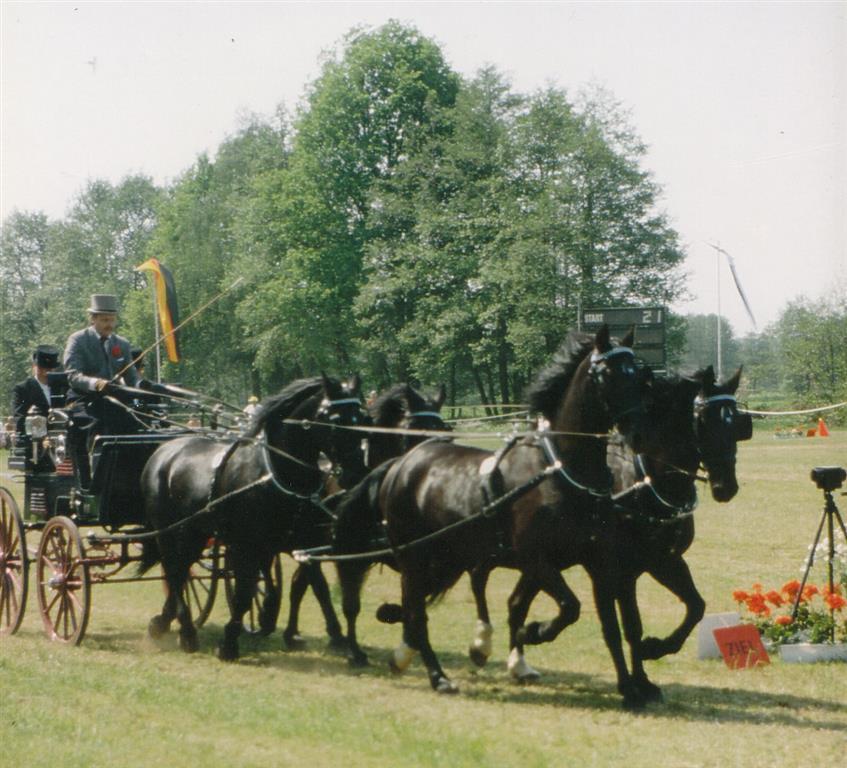 Heinz-Hermann Hansmeier mit seinem Vierspänner im Hindernisparcour
